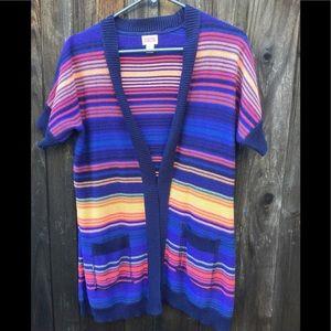 Mossino Multistripe Short Sleeve Sweater, sz S